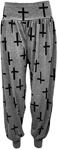 New Plus Size Harem Print Womens Trousers Long Full Baggy Ladies Pants 12 - 26amr600 Croix de Gris