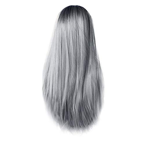 ODJOY-FAN Frau Prämie Synthetik Perücken Mode Perücke Lange Gerade Haar Cosplay Party Perücke Färben Chemische Faser Gradient Mittelpunkt Haarteile 65cm(D,1 PC)