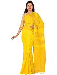 TJ SAREES Bengal Handloom Cotton Silk Saree (Yellow)