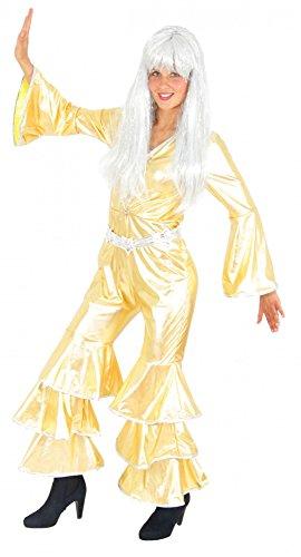 (Foxxeo 40151 | goldenes 70er Jahre Disco Anzug für Damen Karneval Fasching Party gold Gr. S-XXL, Größe:XXL)