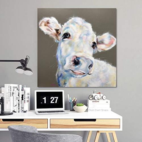 ZJMI Leinwand Gemälde Weisse Kuh Gemälde an der Wand Pop Art Wall Bilder für Wohnzimmer Tier dekorative Malerei Unframed 60cmx60cm -