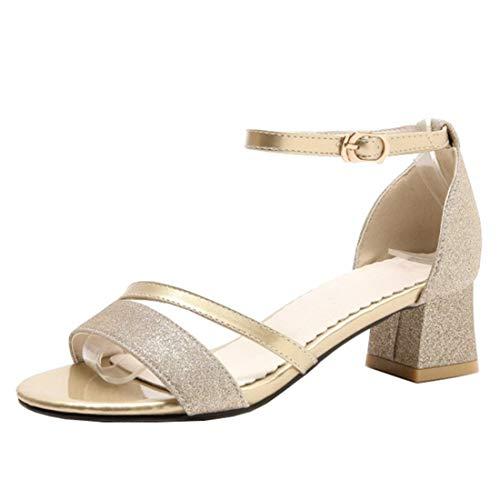 Artfaerie Damen Open Toe Riemchen Sandaletten mit Pailletten und Schnalle Blockabsatz Glitzer Pumps Bequem Schuhe Elegante Gold Open Toe