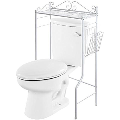 Vanra baño SpaceSaver metal Organizador de Almacenamiento Estantería de baño independiente con Revista en rack Cesta, bronce, Blanco, 1 Shelf