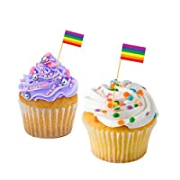 The Classic Image Company Gay Pride Cupcake Flags - Gay Pride Flag/LGBT Pride Flag/Baking/Decoration/Decorative Cake/Cupcake Toppers (100)