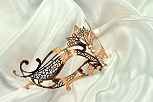 The Rubber Plantation TM 120012546461 - Máscara veneciana de filigrana de metal dorado, talla única