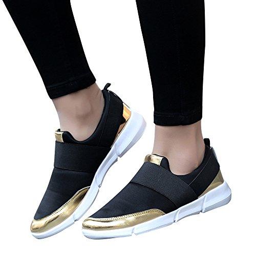 MRULIC Damen Fitnessschuhe Atmungsaktiv Flach mit Klettverschluss Sterne Laufen Sneaker Erwachsene Trainer Sneakers(Schwarz,38 EU)