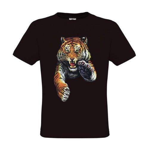 Design Kinder T-shirt (Ethno Designs Kinder T-Shirt Jumping Tiger regular fit, Größe 122/128, black)