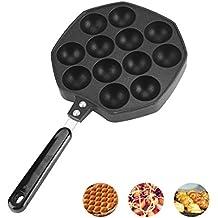 12 Cavidades Aluminio antiadherente Takoyaki Grill Pan Placa Bola de Pulpo / Pancake Maker Molde para