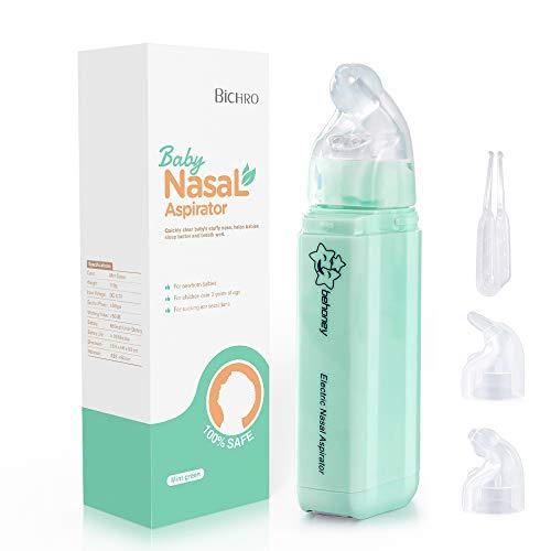 Nasensauger, Elektrischer Nasenreiniger von Bichiro mit 2 Saugstufen, tragbarer Mini-Ohrenschmalzentferner mit 2 wiederverwendbaren Spitzen für Säuglinge und Kleinkinder