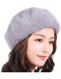 FORTR Home Otoño e Invierno Salvaje Sombrero de Piel de Conejo Hembra  versión Coreana de la Marea Invierno Lana Sombrero Boina de… b6f2a752649