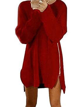 ZORE Las Mujeres de otoño de Invierno de Lado Cremallera Chaquetas de Punto suéter Holgado Jersey Tops Vestido...