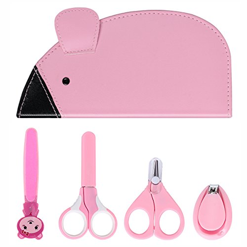 eggsnow Baby Pflege Kit (4 PCS) Maniküre-Set Nail Clipper Set mit 2 Sicherheit Schere, Nagelfeile in Lovely stroge Bag Pink