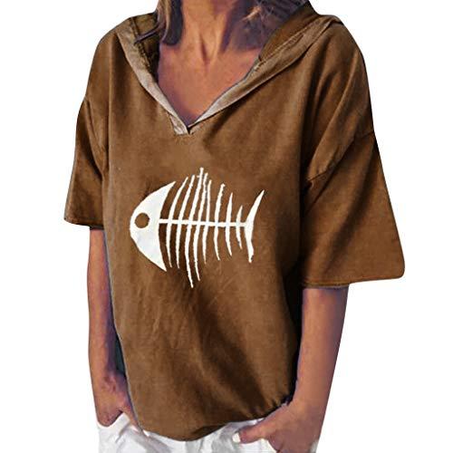 POPLY Bluse Shirt für Damen Frauen Einfach Kurzarm Hoodie Beiläufige Kapuzenpullover V-Ansatz Fisch Knochen Gedruckte mit Kapuze Oberseiten T-Shirt (Schöne Knochen Kostüm)