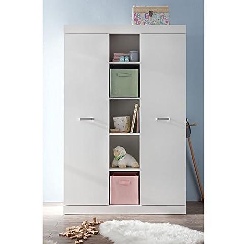 Kleiderschrank Babyzimmer Kinderschrank SUNNY mit 2 Türen und Kleiderstange in Weiß Maße: 120x185x54cm - Brandneues Modell!!