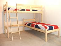 L SHAPED 3ft bunkbed with Two MEMORY FOAM mattresses - Wooden LShaped Bunk Bed for kids - FAST DELIVERY