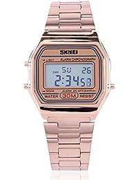 Relojes para hombres, Digital de luz LED trasera de electrónico de reloj de acero inoxidable