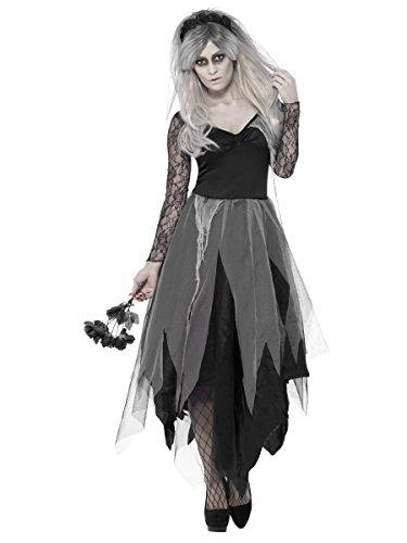 rwachsenen Damen Graveyard Bride Kostüm, Kleid und Rose Schleier, Legends of Evil, Halloween XXL (UK: 24–26) (Blutige Halloween Kostüme Uk)