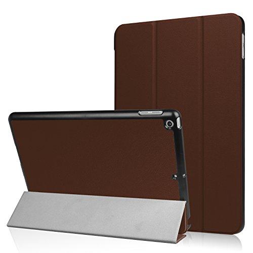 Braun Cabrio Leder (BELLEATYLE Apple iPad 9.7 Zoll 2017 Slim Shell Leder Hüllen Hülle Protector unterstützt Auto Wake/Sleep Braun)
