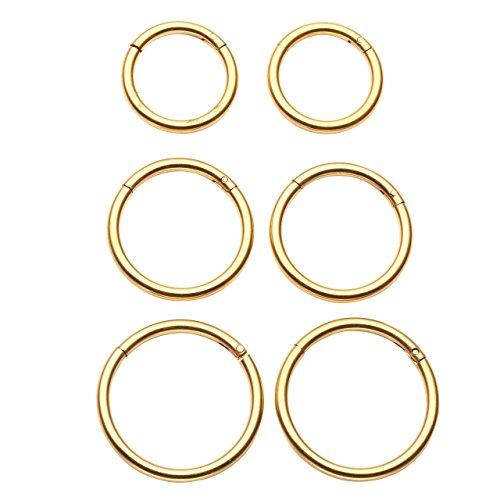 BOPREINA Körperpiercing Set 6 Stücke 1.2mm 316L Edelstahl Universal Piercing Segmentring Septum auch für Tragus Helix Ohr Nase Lippe Brust Intim - Scharnier Clicker, Silber/Gold/Schwarz/Bunt (Gold)