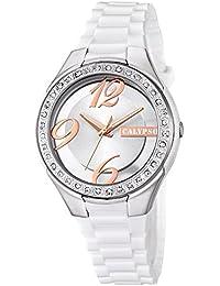 Calypso de mujer reloj de pulsera Fashion Analog PU reloj de pulsera de cuarzo blanco esfera color blanco cobre uk5679/1