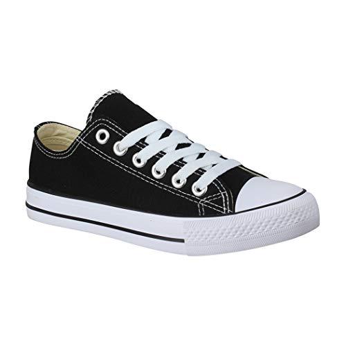 Elara Unisex Sneaker | Bequeme Sportschuhe für Damen und Herren | Low top Turnschuh Textil Schuhe 01-A P YD3230-Schwarz-41