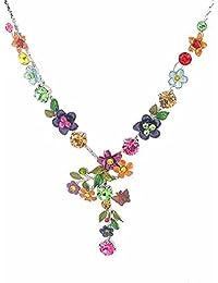 Glamorousky bunte Blumenkette mit mehrfarbigen Austrian Elementkristallen (979)