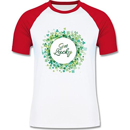 Festival - Get lucky Kleeblatt Glück St. Patrick's Day - zweifarbiges Baseballshirt für Männer Weiß/Rot