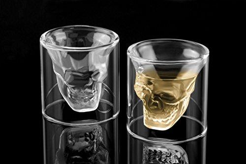 6x Totenkopf Schnapsglas Schädel Skull Head Shot Totenkopf Vodka Schnaps Glas Stamper (25 ml)
