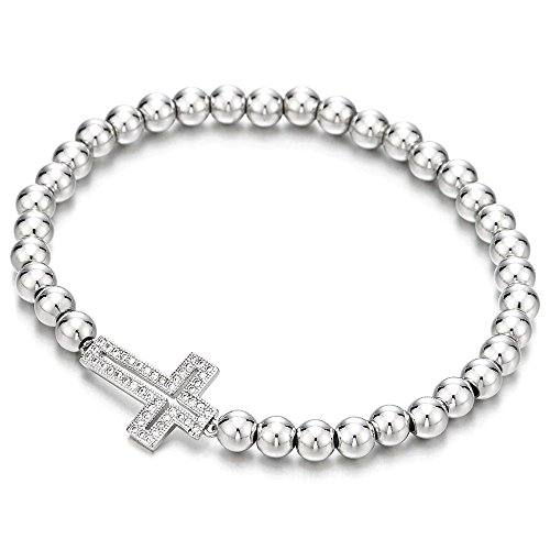 Funkelnden Damen Mädchen Perlen-Armband mit Zirkonia Horizontalen Seite Kreuz (Manschetten-armbänder, Mädchen)