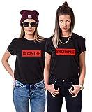Couple Camp Best Friend T-Shirt für 2 Mädchen BFF T-Shirt für Zwei Blondie Brownie Shirt Baumwolle Sommer Oberteil Tops 2 Stücke