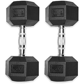 Par de mancuernas hexagonales de goma, de 1 kg a 10 kg, para hacer ejercicio, entrenamiento, fitness, en gimnasio o en casa (1 kg, 2 kg, 3 kg, 4 kg, 5 ...