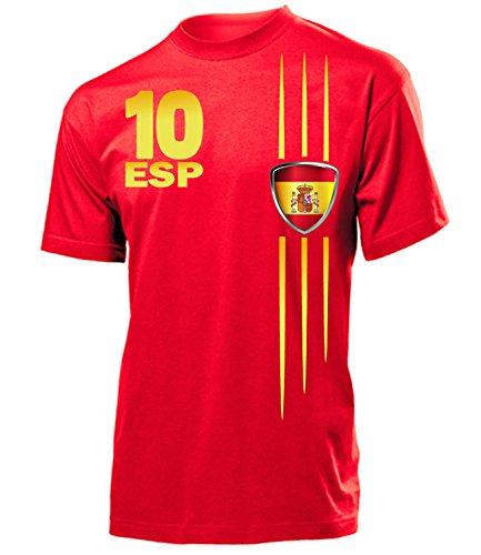 Spanien Fanshirt Fan Shirt Tshirt Fanartikel Artikel Streifen 3211 Fussball Männer Herren T-Shirts Rot S