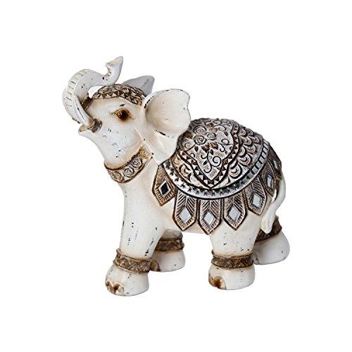 DonRegaloWeb - Figura de un elefante de resina con trompa levantada y...