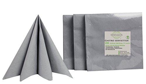 Sensalux Gastro-Servietten, 200 Stück, grau, 3-lagig 1/4-Falz 33 cm x 33 cm, hochwertige Servietten, ideal für Partys, Hochzeiten, Geburtstage (100 Papier Servietten)