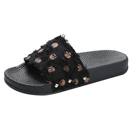 Qingsiy Chanclas Mujer Moda 2019 Romanas Verano Mujer Estilo Bohemia Zapatos Zapatillas Lunares para Mujer Sandalias Casuales de Playa Chanclas de Plataforma de Chancletas (Marrón,41)