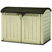 Keter Store-It Out Ultra Outdoor Plastic Garden Storage Bike Shed, Beige and Brown, 177 x 113 x 134 cm