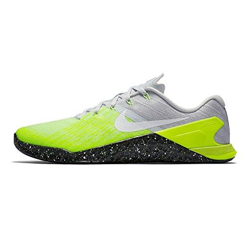 Nike metcon 3–Zapatillas de gimnasia, Hellgrau (Pure Platinum/Volt/Ghost Green/Black), 49
