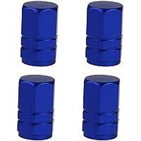4x Tappo Valvola Coprivalvola Cap Ruota Pneumatici Pneumatico Antipolvere Auto Moto - Blu