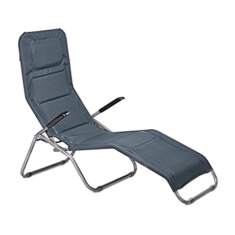 Relaxdays Bäderliege klappbar grau, Metall, Kunststoff Textil, HxBxT: 110 x 75 x 135 cm, Garten, Kippliege,