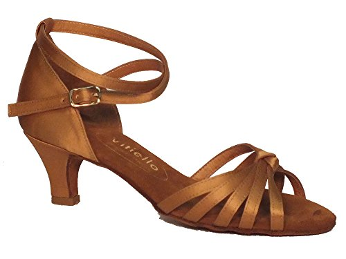 Vitiello Dance Shoes  Sandalo l.a. raso tanganica tacco 5cm, Damen Tanzschuhe Braun Marrone Tanganica