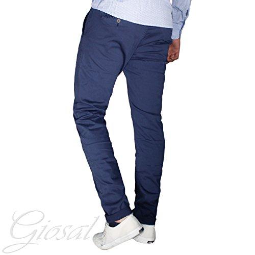 Pantalone Uomo Cavallo Basso Chino Tasca America Colorato Tinta Unita GIOSAL Blu