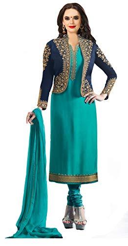 Darshita International Women\'s Salwar Suits Dress Materials (Prachiturquoise_Turquoise)