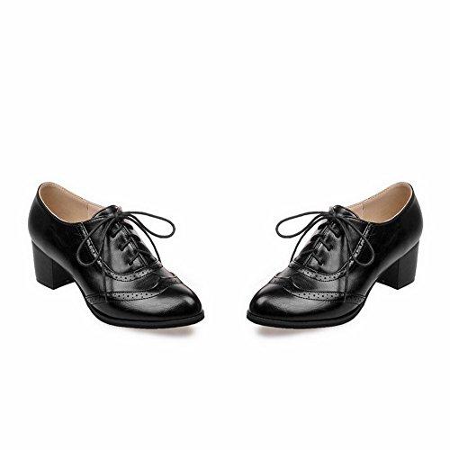 VogueZone009 Femme à Talon Bas Matière Souple Couleur Unie Lacet Pointu Chaussures Légeres Noir