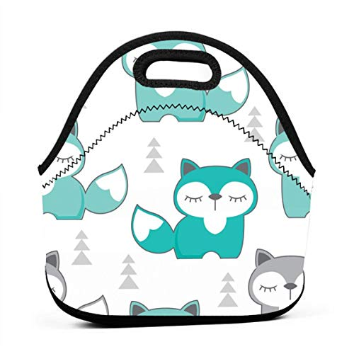 Teal And Grey Foxes Lunch Bag for Men Women,Leakproof Insulated Cooler Bag Picnic Boating Beach Fishing Work