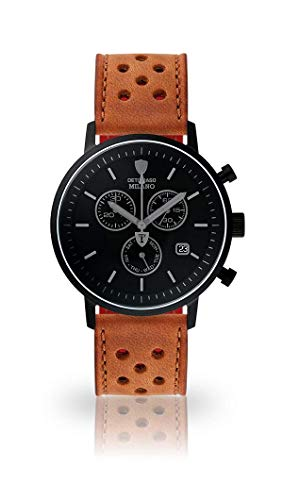 DETOMASO Milano Mens Watch Chronograph Analog Quartz Light Brown Racing Leather Strap Black dial DT1052-P-838
