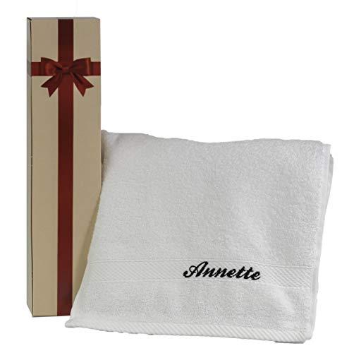 Feiner-Tropfen 1 Handtuch Set mit Namen personalisiert Bestickt weiß Baumwolle