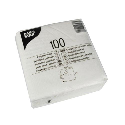Papstar 10519 - Tovaglioli di carta, 1 velo, piega 1/4, 30 x 30 cm, colore: bianco, confezione da 48 pezzi
