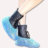 100 piezas de plástico desechables para zapatos, resistente al agua, para exteriores y exteriores, color azul