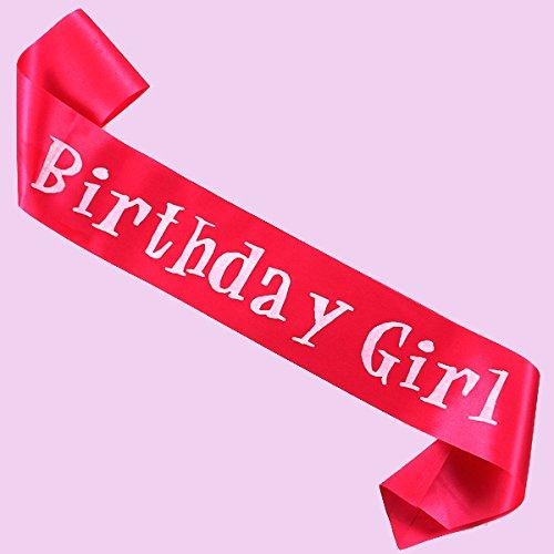 Funcart Hot pink birthday girl sash