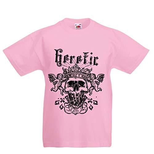 lepni.me Kinder Jungen/Mädchen T-Shirt Heretic King Skull - Krone des Ruhmes, Skelett Gesicht (9-11 Years Pink